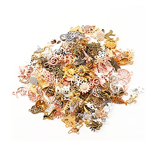 HERZWILD x210pcs Charms Anhänger 5 farbe Charms zum Schmuck Basteln Armband Halskette Ohrring Gemischte Charms Antik Silbergold (210pcs)