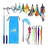 Toozey Feather Toys, juguetes para gatos con 2 piezas de varillas retráctiles interactivas para gatos y 13 piezas de reemplazo de plumas / insectos / peces con campanas