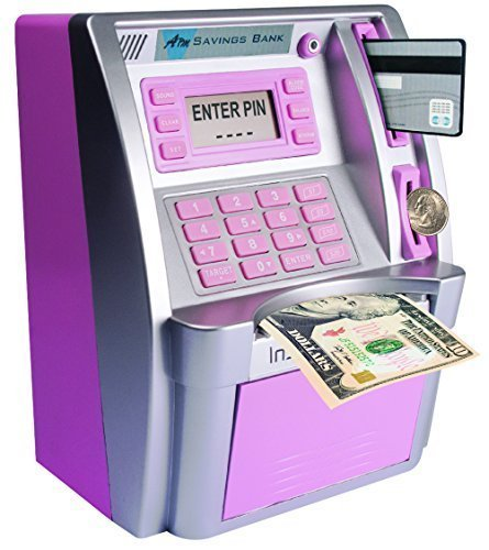 LB ATM Savings Bank Cash Coins Money Savings Machine,Pink Personal ATM for Kids Girls Birthday Gift Toy