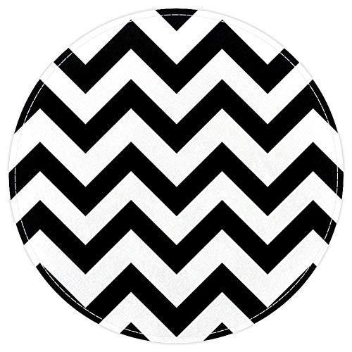 EZIOLY Tapis de Bain Rond antidérapant Lavable Motif Chevrons Noir/Blanc 40 x 40 cm