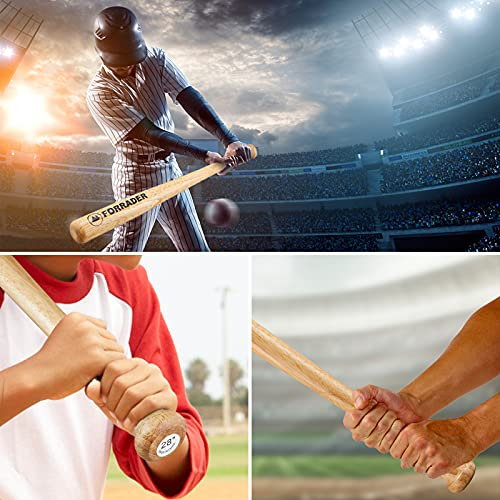 Forrader Baseball Bat Wooden 28 inch Adult Kids Available Baseball Stick Bar Anti-Slip Outdoor Training Practice or Self& Home Defense (rubber wood)