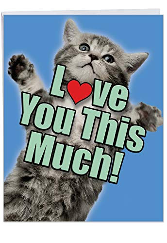 Cat Love You This Much - Cute Pet Kitten Anniversary Card with Envelope (Large 8.5 x 11 Inch) - Tabby Cat Hugs, Wedding and Engagement Anniversary Greeting Card - Funny Animal Congrats J6610AANG