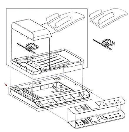 HP CC431-67902 Flatbed scanner assembly for Color LaserJet CM1312NFI MFP - Includes flatbed scanner frame and glass