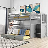 Full Over Full Bunk Bed with Trundle, 4 Drawers and Staircase Full Over Pull-Out bunk Bed for Kids, Adult, No Box Spring Needed