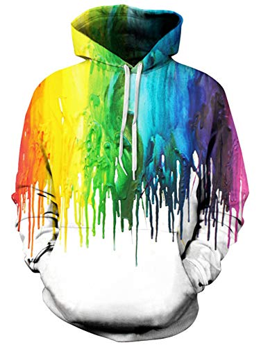 Unisex Mens Women 3D Graffiti Lightweight Hoodie Cool Printed Funny Painting Hooded Hoodies Pullover Sweatshirts White S/M