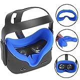 Carplink VR Maske für Oculus Quest VR Gaming Headset Silikon-Schutzhülle Hygiene Gesichtsmaske VR Masken VR Face Cover Augenmaske für Oculus Quest Blau
