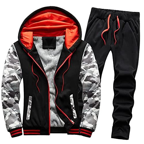 URIBAKY - Disfraz de camuflaje para hombre, talla grande, chaqueta de cazadora gruesa, más gruesa, más terciopelo, Le Noir, 5X-Large