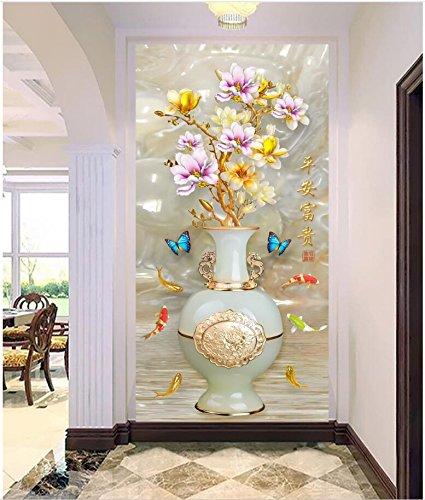 mznmcustom Wandbild Foto 3D Tapete Romantische Jade Vase Blumen Veranda Decor Tapete Malen 3D Wandtattoo Wandbilder für Wände 3D 400x280cm