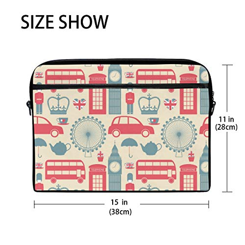 Linomo Laptoptasche mit London-Symbol, Aktentasche, Kuriertasche, Laptop-Schultertasche für 13 Zoll / 35,6 cm / 35,6 cm (14 Zoll) Laptops für Damen, Herren, Büro, Kinder, Schule