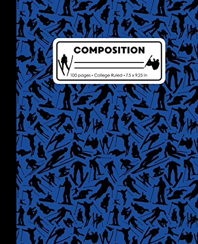 Composition: College Ruled Writing Notebook, Blue Ski Snowboard Boy Pattern Marbled Blank Lined Book