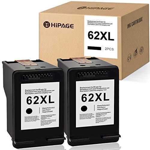 HIPAGE 62XL - 2 cartuchos de tinta compatibles con HP 62 XL para impresoras HP Envy 5640 5540 5544 5545 5547 5548 5642 5644 5646 7640 HP OfficeJet 5740 5742 250 20 20 20 20 20 20 20 200 200 2 2 2000