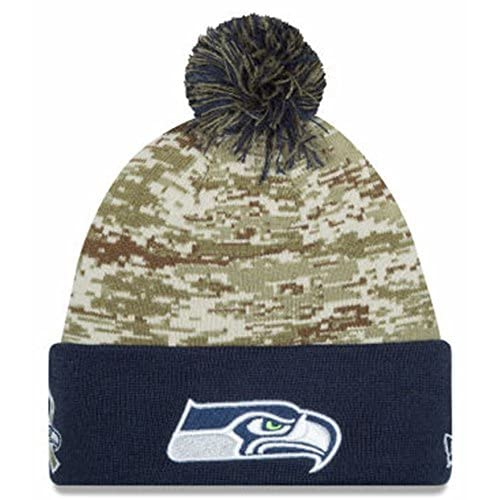 3e8326595cd Amazon.com   Seattle Seahawks New Era 2015 Salute To Service On-Field Pom  Knit Hat-10370   Sports   Outdoors
