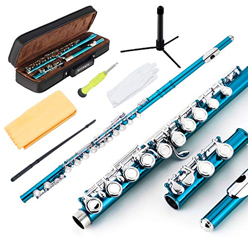 EastRock Closed Hole Flutes C 16 Key for Beginner, Kids, Student -Nickel Flute with Case Stand and Cleaning kit (Sea Blue)