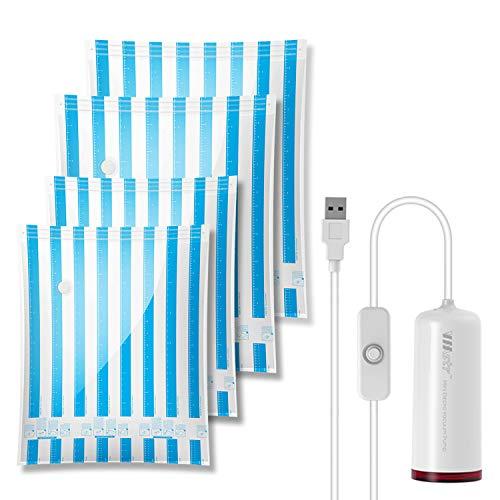 VMstr Vakuum Aufbewahrungsbeutel für die Reise mit USB Elektropumpe, 2X (70 * 50CM) + 2X (60 * 40CM) Space Saver-Taschen für die Reise und den Heimgebrauch Wiederverwendbare Vakuumbeutel
