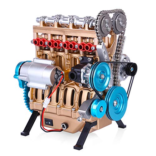 Mecotecn V4 Car Engine Model Mini Assemble Inline 4-cylinder Engine Model for Technology Enthusiast...
