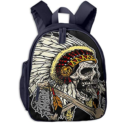 Children's Backpacks Graphic Apache Head Skull Students School Bag Child Kids Casual Daypack Sports Travel Outdoor, Lightweight, for Boys Girls