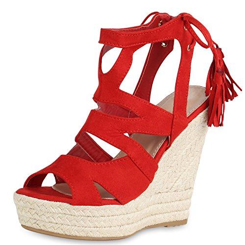 SCARPE VITA Damen Sandaletten Bast Keilabsatz Espadrilles Wedges Schuhe 161258 Rot Quasten 41