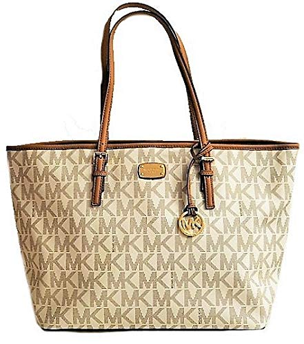 """Coated Canvas leather Inside zip pocket, and four slip pockets, MK signature fabric lining Open top with hook closure, slip pocket at the back MK charm included in gold tone hardware Approximate measurements: 14"""" bottom & 18.25"""" top(L) x 11.25""""(H) x ..."""