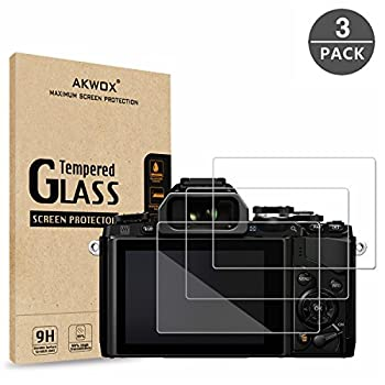 Pack of 3  Tempered Screen Protector for Olympus OM-D E-M10 Mark III II E-M5 Mark II Pen-F E-P5 E-PL8 E-PL7 E-PL9 Akwox [0.3mm 2.5D High Definition 9H] Optical LCD Premium Glass Protective Cover