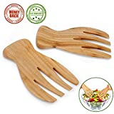 Salad Servers Bamboo Serving Tosser Server Claws Wooden Server Claws Stylish Design Best for Serving Salad, Pasta, Fruit On Your Kitchen Counter Pack of 2