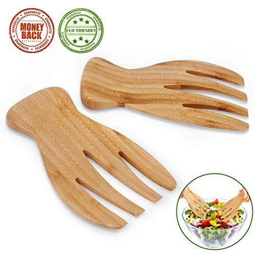 Salatbesteck, Bambus-Servier-Tosser, Klauen aus Holz, stilvolles Design, ideal zum Servieren von Salat, Nudeln, Obst auf Ihrer Küchentheke, 2 Stück