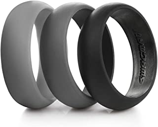Swagmat Silicone Wedding Ring for Men and Women – 3 Packs and Singles – Black, Grays and Blue Rubber Wedding Bands for Men - 8.7 millimeters Wide…