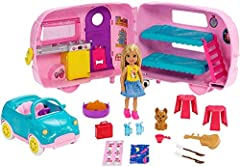 Kids can go camping anytime with the Club Chelsea camper doll and playset that offers transformation and lots of toy pieces, including a puppy, to inspire imaginations! Hitch the camper to the car, place Chelsea doll in the driver's seat and push t...