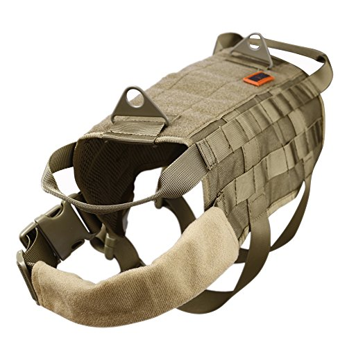 OneTigris Tactical Dog Training Vest Harness with Mesh Padding and Two Handles (Tan, XL / 54cm)