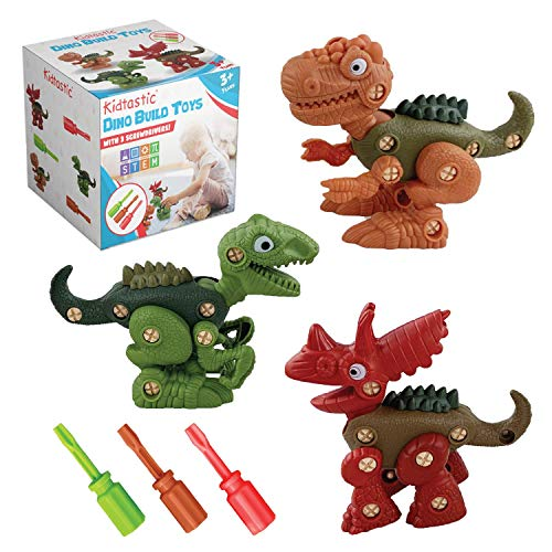 Kidtastic Take Apart Dinosaur Toys STEM for 3 Year Olds - Building Play Set, Pack of 3 Fun Construction Engineering Play Kit for Boys & Girls Ages 3yr – 6yr