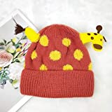 Sombrero de bebé Jirafa de Dibujos Animados Gorro de Lana de bebé súper Lindo Gorro de Invierno cálido con Orejeras Gorro de Punto para niños