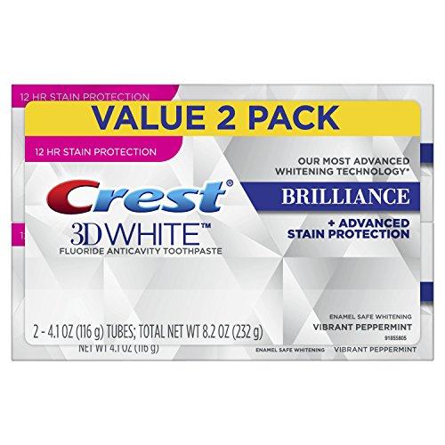 Crest 3D White Glanz, Fluorid Anticavity Zähne Whitening Zahnpasta, lebendige Pfefferminze, 4,1 Unzen je Doppelpack