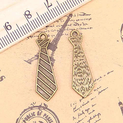 WANM Encanto 24 Piezas Encantos Corbata 30X9Mm Colgante Antiguo Vintage Joyería De Plata Tibetana DIY para Collar De Pulsera