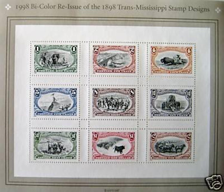 Bicolor Reissue of 1898 Trans Mississippi Sheet of Nine Stamps Scott 3209 by USPS