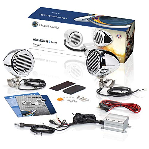 Planet Audio PMC2C Motorcycle Speaker System - Bluetooth, Weatherproof Speakers   Amplifier, 2 3 Inch Speakers, 1 2 Channel Amplifier, 1 Volume Control, Use With ATV Motorcycle 12 Volt Vehicles