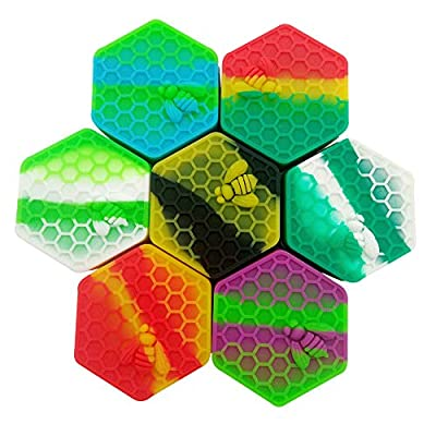 SZBS Silicone Wax Container 26ml Hexagon Storage Oil Concentrate Jar Multi Use Assorted Color by