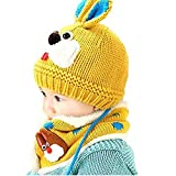 HENGSONG Mütze Kindermütze Winter Strickmütze Herbst Pudelmütze Schal Set Kaninchen Gehäkelt Wintermützen Coole Mütze für Baby Kinder Hut Beanie Kopfumfang 46-52cm für 1-4 Jahre (Gelb)