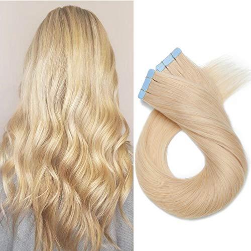 Extenson Capelli Veri Biadesivo 100g/set 40 Fasce Tape in Extension Adesive Remy Human Hair - 60cm 613 Biondo - Lisci Naturali Umani Invisibile Lunghi Testa Piena