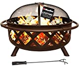 Mueller SmartFlame 36-Inch Portable Outdoor Fire Pit, Fire Pits for Outside, Heavy-Duty Steel, Diamond Design w/ Flame-Retardant Mesh Screen, Poker Tool, Waterproof Cover, Patio Outdoor Heating, Brown