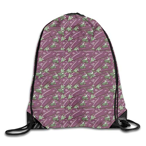 Print Drawstring Backpack,Retro Inspired Stacks Of Delicious Eggplants Product Of Nature Ingredient Cusine Food,Beach Bag for Gym Shopping Sport Yoga