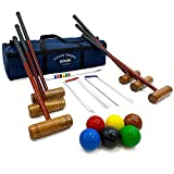 Big Game Hunters Cottage Croquet Set - Adult Croquet Set with Full Size Composite Balls in a Storage Bag (6 Player Set)