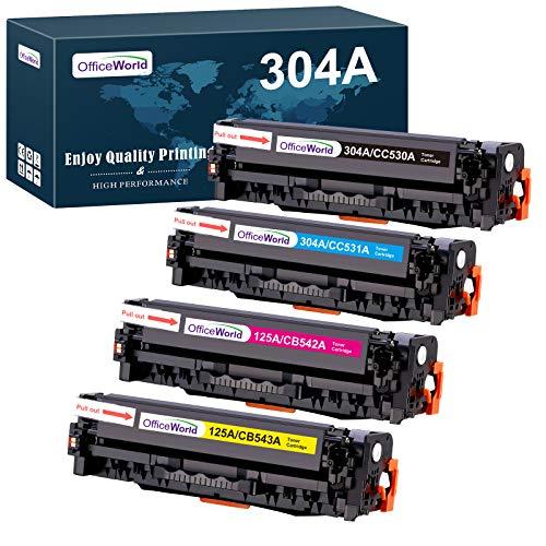 OFFICEWORLD HP 304A Tonerkartuschen Ersatz für CC530A CC531A CC532A CC533A Toner Kompatibel für HP Color LaserJet CM2320fxi CM2320nf CP2320 CP2025 CP2025n (1 Schwarz, 1 Cyan, 1 Magenta, 1 Gelb)