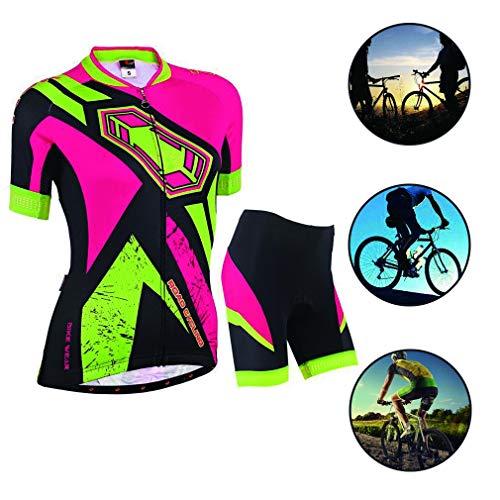 YILIFA fietsshirt dames korte mouwen set, fietsbroek mountainbike outdoor sportuitrusting