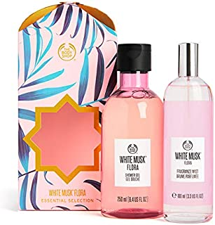 The Body Shop White Musk Flora Set Of 2 Pieces Shower Gel 250ml With Fragrance Mist 100ml