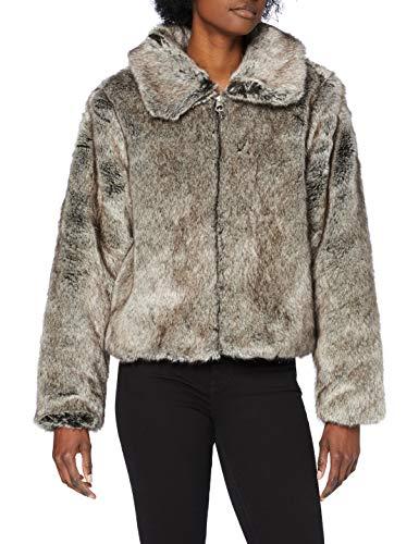 Superdry Boho Faux Fur Jacket Cappotto in Pelliccia Sintetica, Mink, L Donna