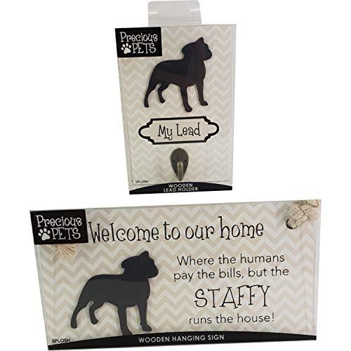 Precious Pets Hundeschild und Hundeleine, Hakenpackung, lustiges Schild, Geschenk für Mütter, Hundezubehör, Hausmaterial