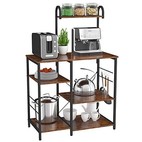 Homfio Baker's Rack Scaffale da cucina, 4 ripiani+3 ripiani per forno a microonde o tavolino da caffè per spezie, pentole e padelle, colore: marrone rustico