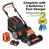 "Yard Force Lithium-Ion 22"" Self-Propelled 3-in-1 Mower with Torque-Sense Control - 2 Batteries &..."