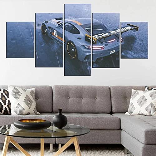 QWASD Cuadro Lienzo Pintura 5 Piezas Pared Pintura Impresión Arte para Hogar Salón Oficina Mordern Decoración Regalo Wall Art Poster Mural Coche Deportivo Mercede Ben Z