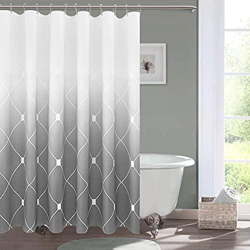 Duschvorhang für Badezimmer, geometrisches Muster, Waffelmuster, wasserabweisend, waschbar, 183 x 183 cm, Silbergrau & Weiß