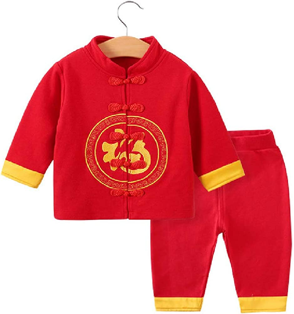 Quenny Babys' New Year's Clothing,Chinese Style Boys' Suit,Autumn and Winter red Two-Piece Tang Suits.